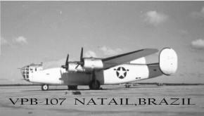 Foto oficial do Liberator PB4Y-1 do VPB-107 em Natal (Foto: U.S. Navy)