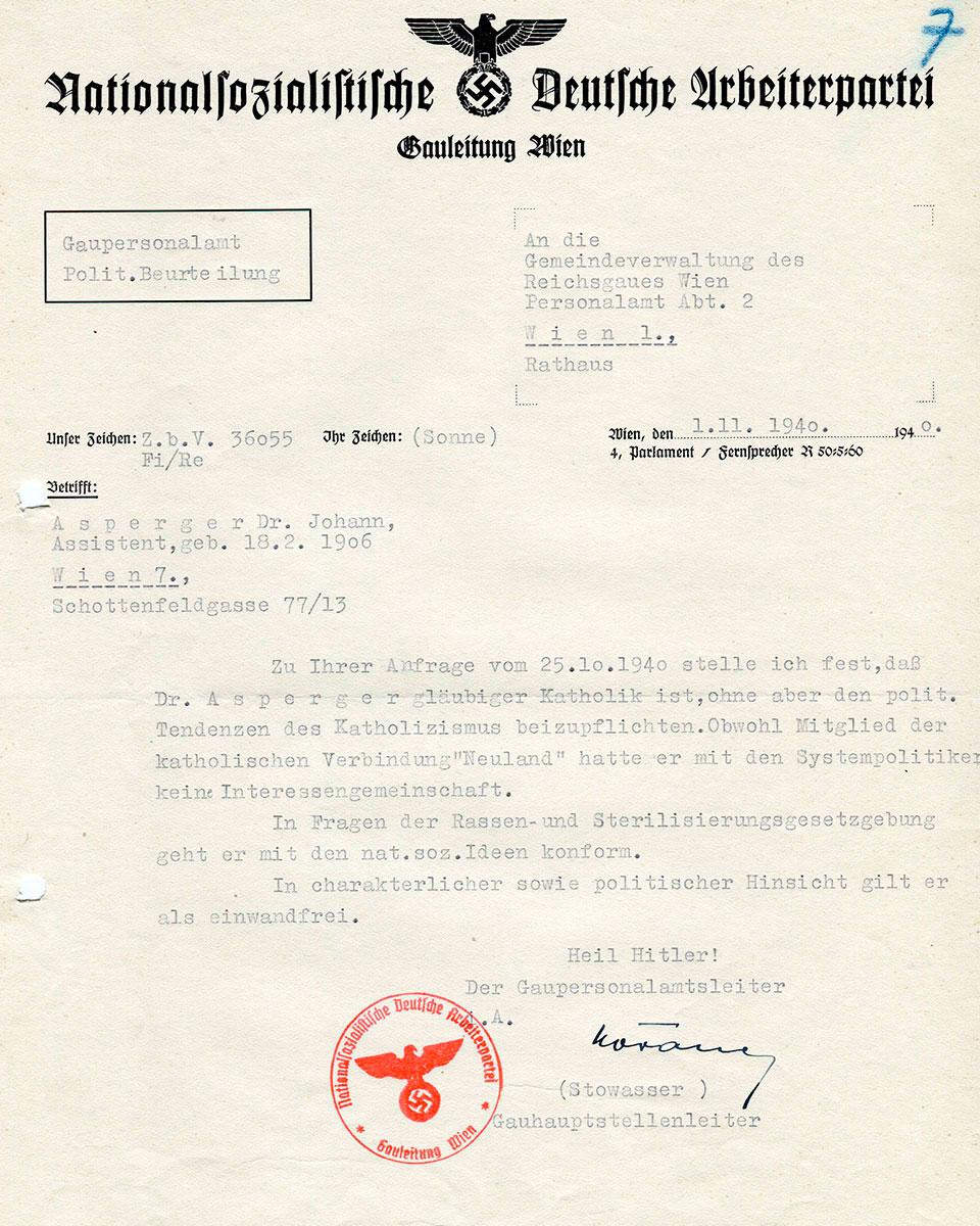 Evidência documental da confiança das autoridades nazistas nas credenciais de Hans Asperger como alguém em sintonia com as ideologias do projeto