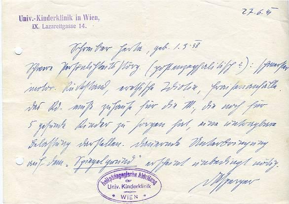 Nota, datada de 27 de junho de 1941, Asperger avalia Herta